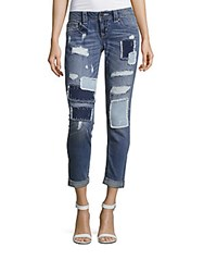 Miss Me Distressed Patchwork Jeans Blue