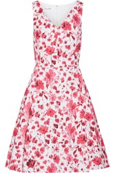 Oscar De La Renta Floral Print Stretch Cotton Dress Pink