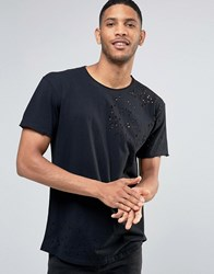 Pull And Bear Pullandbear T Shirt With Distressing In Black Black
