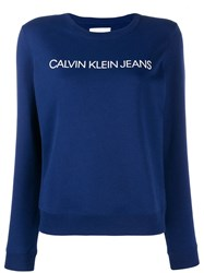 Calvin Klein Jeans Logo Embroidered Sweater Blue
