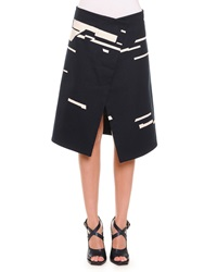Jil Sander Broken Stripe Print Asymmetric Skirt Navy