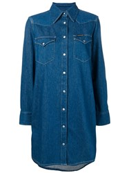 Ck Calvin Klein Jeans Denim Shirt Dress Blue