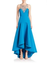 Marchesa Sleeveless Embellished Gown Peacock