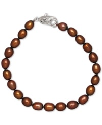 Honora Style Chocolate Cultured Freshwater Pearl Bracelet In Sterling Silver 7 8Mm