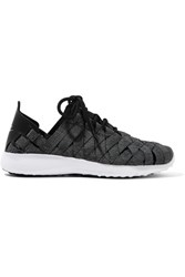 Nike Juvenate Premium Faux Textured Leather Trimmed Woven Sneakers Gray