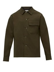 Margaret Howell Patch Pocket Brushed Wool Blend Twill Shirt Khaki