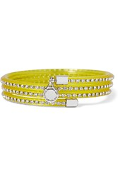 Marc By Marc Jacobs Slinky Silver Tone Crystal And Rubber Bracelet Yellow
