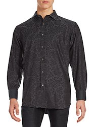 Bugatchi Long Sleeve Woven Button Down Shirt Black