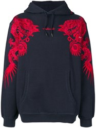 Mhi Maharishi Embroidered Dragon Hoodie Blue