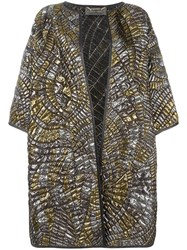 Alberta Ferretti Quilted Metallic Grey Coat