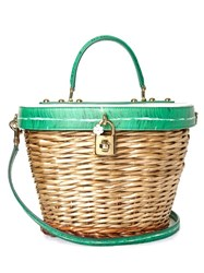 Dolce And Gabbana Banana Leaf Print Leather Wicker Basket Bag Green White