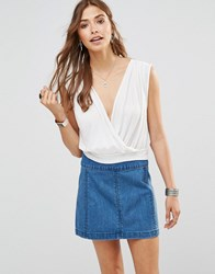 Free People Dream Cross Front Crop Top In White Ivory