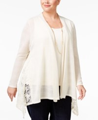 Styleandco. Style Co. Plus Size Lace Trim Open Front Cardigan Only At Macy's Cream