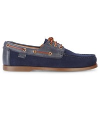 Polo Ralph Lauren Navy Bienne Ii Suede Leather Boat Shoes Blue