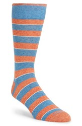 Men's Lorenzo Uomo 'Genova' Stripe Socks Blue Aqua Blue