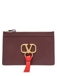 Valentino V Ring Leather Pouch Burgundy