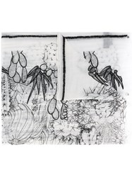 Paul Smith Ps By Cactus Motive Print Scarf White