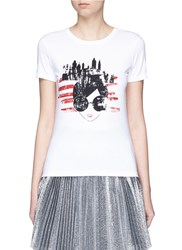 Alice Olivia 'Stace Face' New York City Print T Shirt White