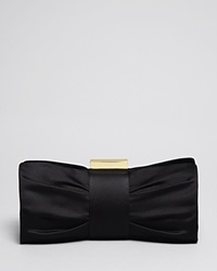Sondra Roberts Clutch Pleat Bow Black Satin