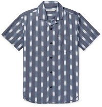 Outerknown Bbq Camp Collar Printed Organic Cotton Shirt Blue