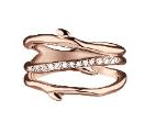 Shaun Leane Silver And Rose Gold Cherry Branch 3 Band Diamond Ring 0.10Ct Medium M