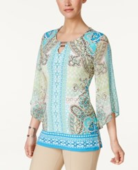 Jm Collection Printed Keyhole Tunic Only At Macy's Aqua Tabitha Tile