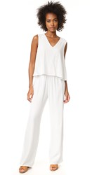 Cupcakes And Cashmere Goddess Tiered Top Jumpsuit Ivory