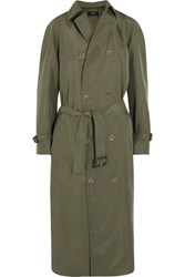Joseph Parachute Washed Silk Trench Coat Army Green