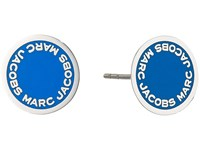 Marc Jacobs Logo Disc Enamel Studs Earrings Blue Earring