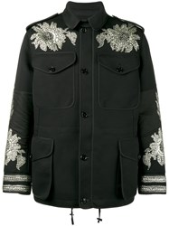 Alexander Mcqueen Sequin Embroidered Military Jacket Men Silk Cotton Polyamide Viscose 52 Black