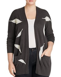 B Collection By Bobeau Curvy Lia Intarsia Cardigan Charcoal Grey