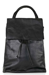 Topshop Leather Backpack Black