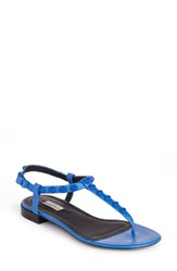 Balenciaga Women's Studded T Strap Sandal Blue Tonal Leather