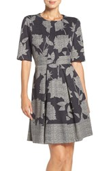London Times Women's Stretch Fit And Flare Dress