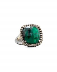 Bavna Emerald And Diamond Cocktail Ring Size 6.75