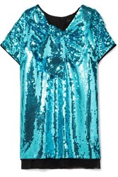 Marc Jacobs Satin Paneled Sequined Georgette Mini Dress Blue
