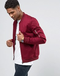 Asos Muscle Fit Bomber Jacket With Sleeve Zip In Burgundy Burgundy Red