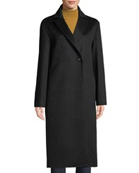 Cinzia Rocca Notched Collar Button Front Mid Length Cashmere Coat Black