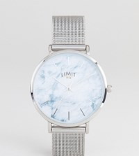 Limit Marble Effect Mesh Watch In Silver Exclusive To Asos 36Mm