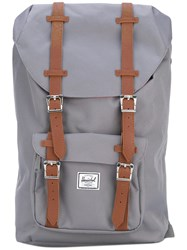 Herschel Supply Co. Leather Trimmed Canvas Backpack Women Polyester Polyurethane One Size Grey