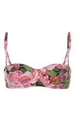 Dolce And Gabbana Floral Bikini Top Pink