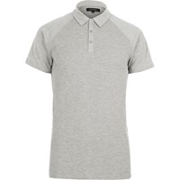 River Island Mens Grey Marl Waffle Slim Fit Polo Shirt