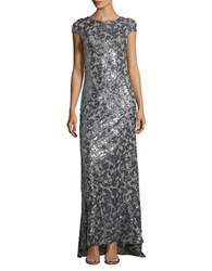 Calvin Klein Sequined Cowl Back Gown Charcoal