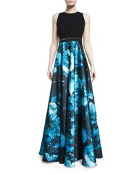 Carmen Marc Valvo Sleeveless Wool And Floral Satin Combo Gown Black Turquoise