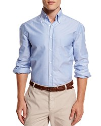 Brunello Cucinelli Oxford Button Down Sport Shirt Blue