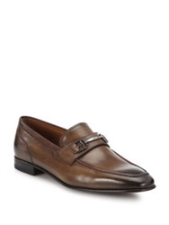 Bally Leather Loafers With Metal Accent Tobacco