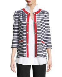 Misook Button Detail Striped Jacket With Pockets Wht Blk Poppy