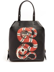 Gucci Snake Print Leather Backpack Black Multi