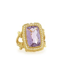 Jude Frances 18K Amethyst And Diamond Cocktail Ring Size 6.5