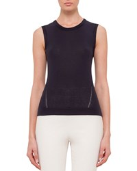 Akris Sleeveless Round Neck Top With Keyhole Navy Size 4